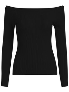 Boat Neck Slim Black Sweater