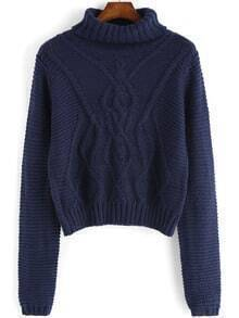 Turtleneck Cable Knit Blue Sweater