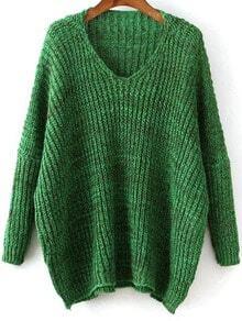 Зелёный пончо свитер с V-образным вырезом