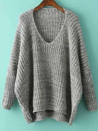 V Neck Dolman Light Grey Sweater