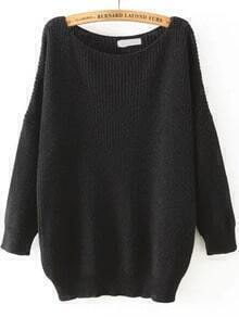 Scoop Neck Long Sleeve Loose Black Sweater
