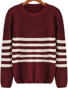 Round Neck Striped Knit Red Sweater