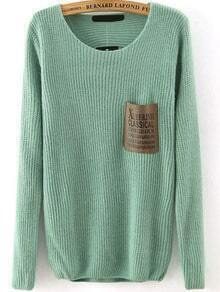 Letter Print Pocket Green Sweater