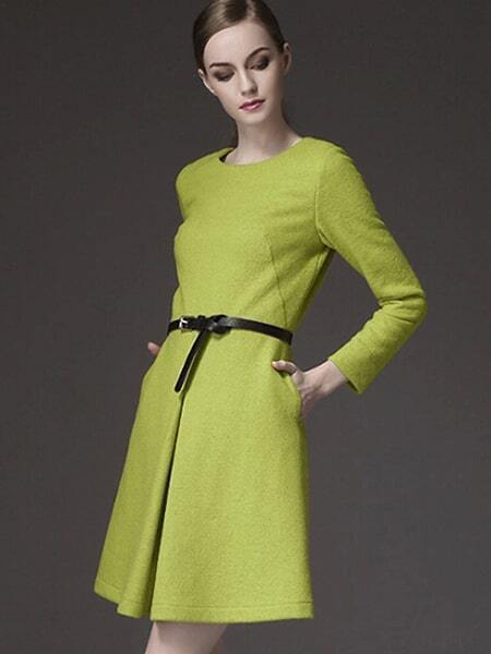 Green Round Neck Long Sleeve Drawstring Pockets Dress
