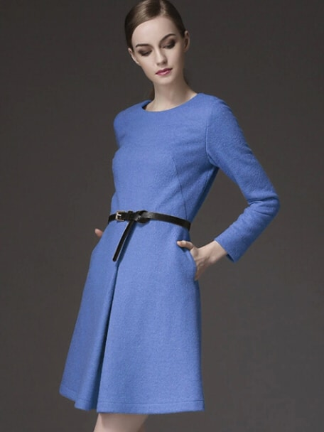 Blue Round Neck Long Sleeve Drawstring Pockets Dress