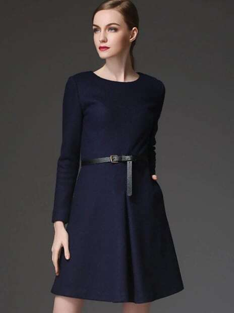 Navy Round Neck Long Sleeve Drawstring Pockets Dress