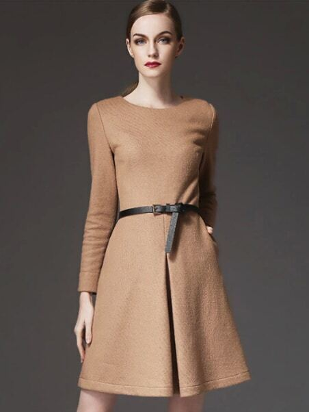 Camel Round Neck Long Sleeve Drawstring Pockets Dress