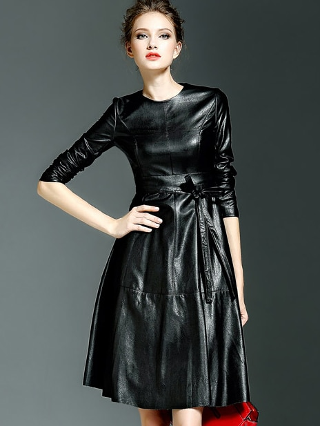 Black Round Neck Long Sleeve Tie-Waist Leather Dress