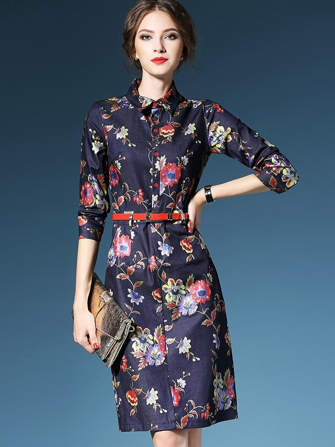 Multicolor Lapel Length Sleeve Drawstring Pockets Print Dress