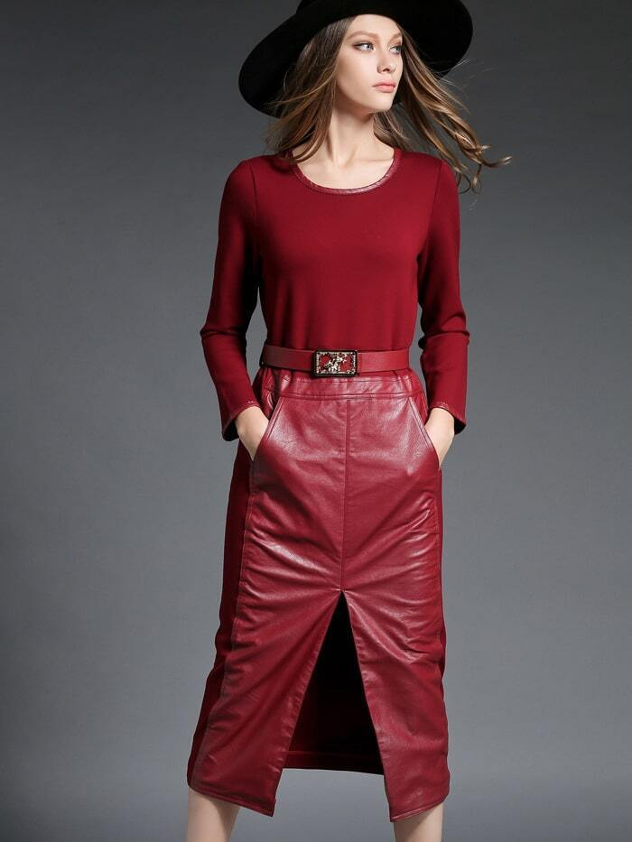 Win Red Long Sleeve Contrast PU Drawstring Pockets Dress