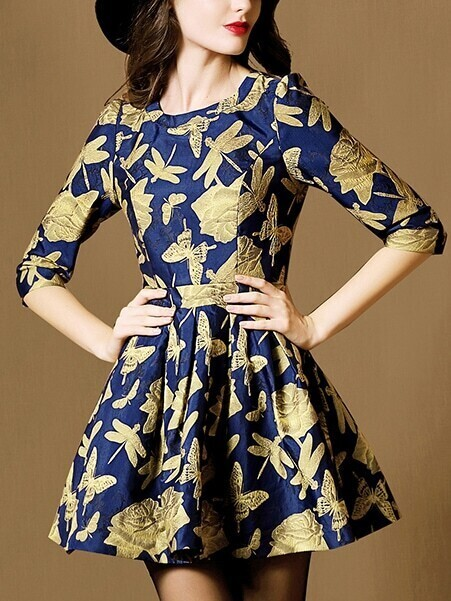 Multicolor Round Neck Half Sleeve Jacquard Dress