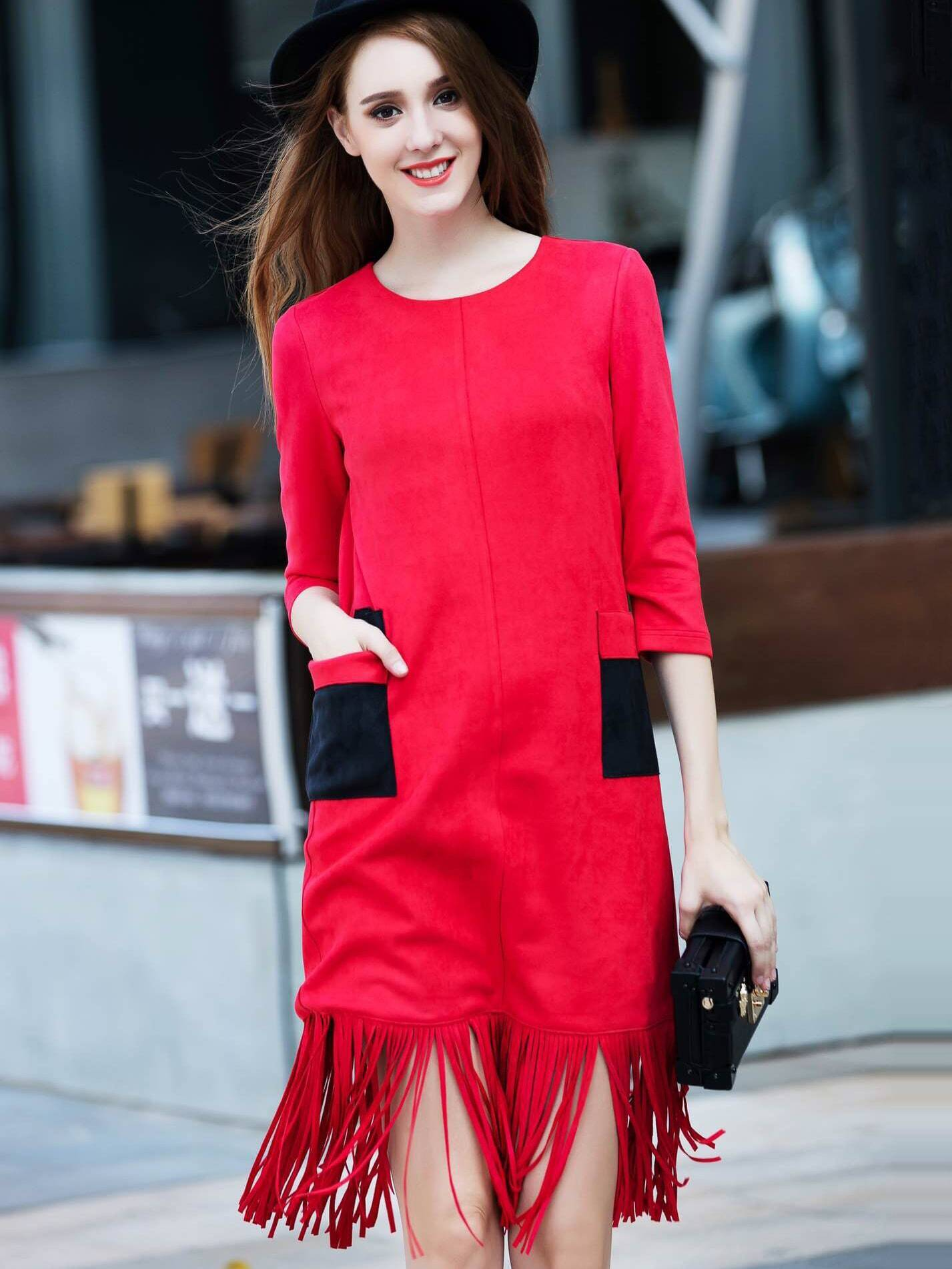 Red Round Neck Length Sleeve Pockets Tassel Dress