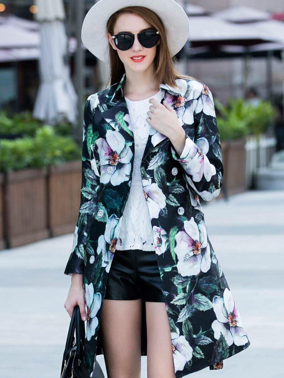 Multicolor Lapel Long Sleeve Tie-Waist Floral Print Pockets Coat