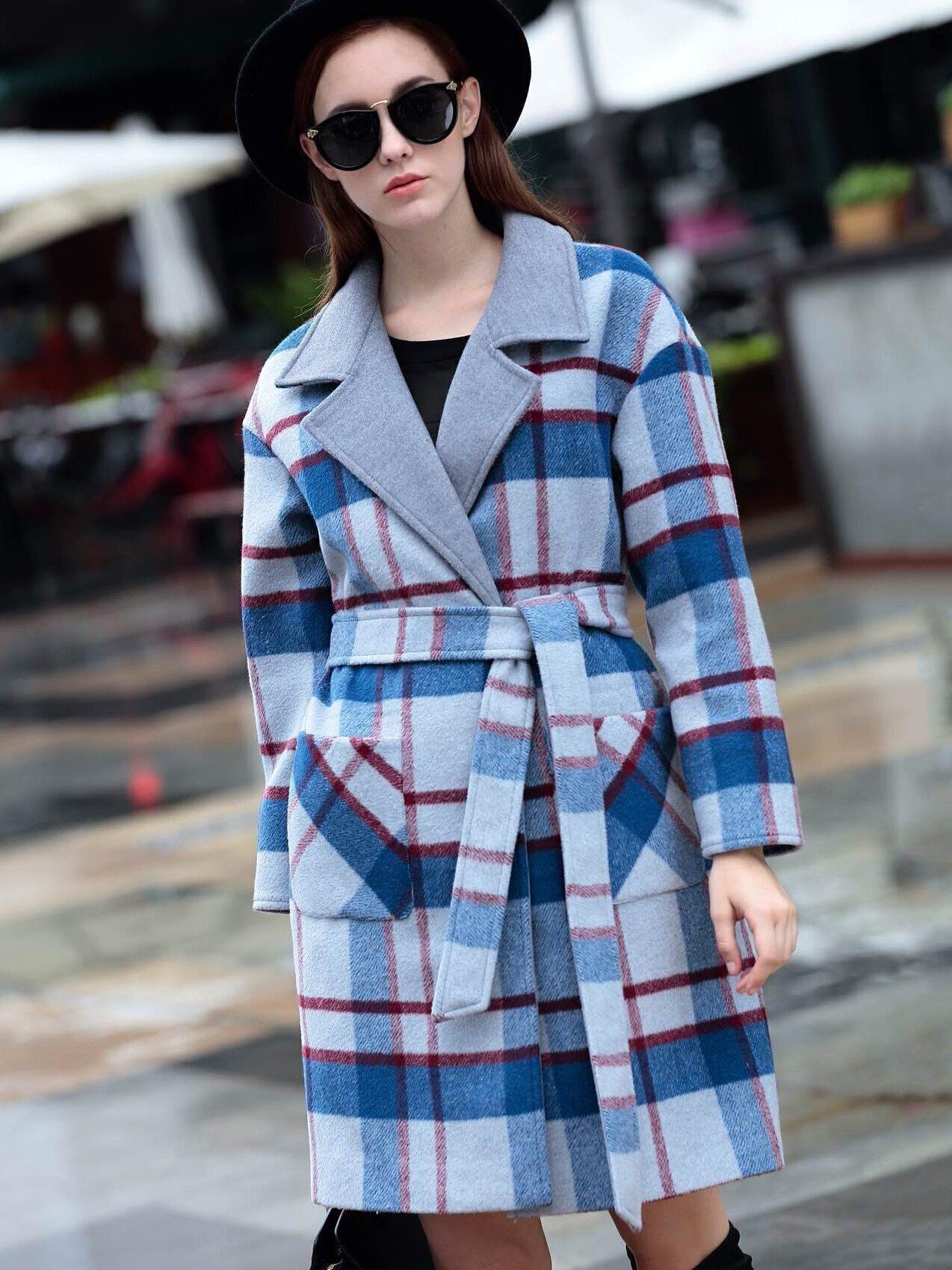 Multicolor Lapel Long Sleeve Tie-Waist Check Print Pockets Coat