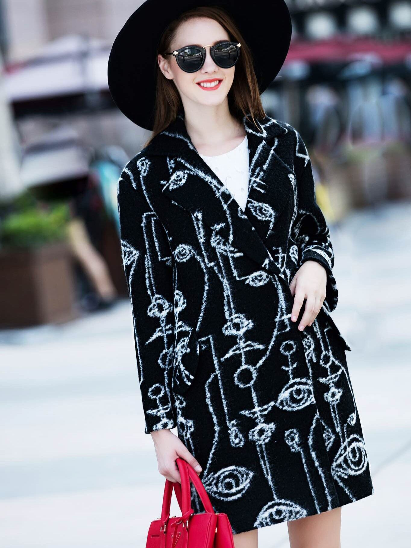 Black V Neck Long Sleeve Print Coat