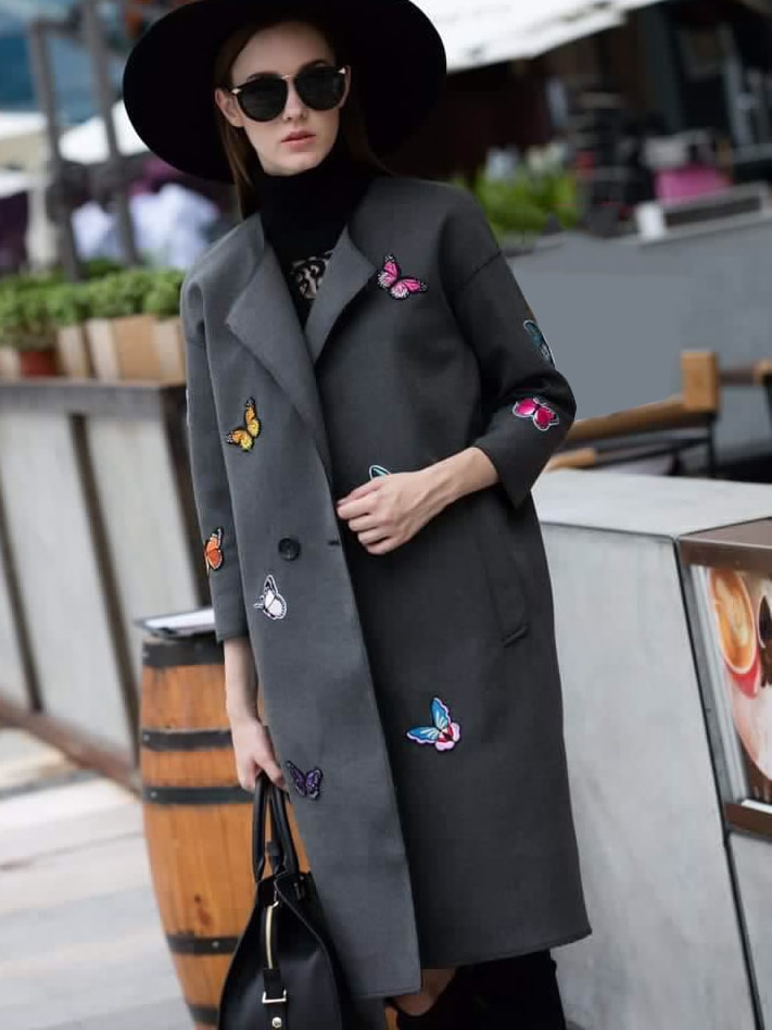 Grey Lapel Length Sleeve Patch Embroidered Pockets Coat