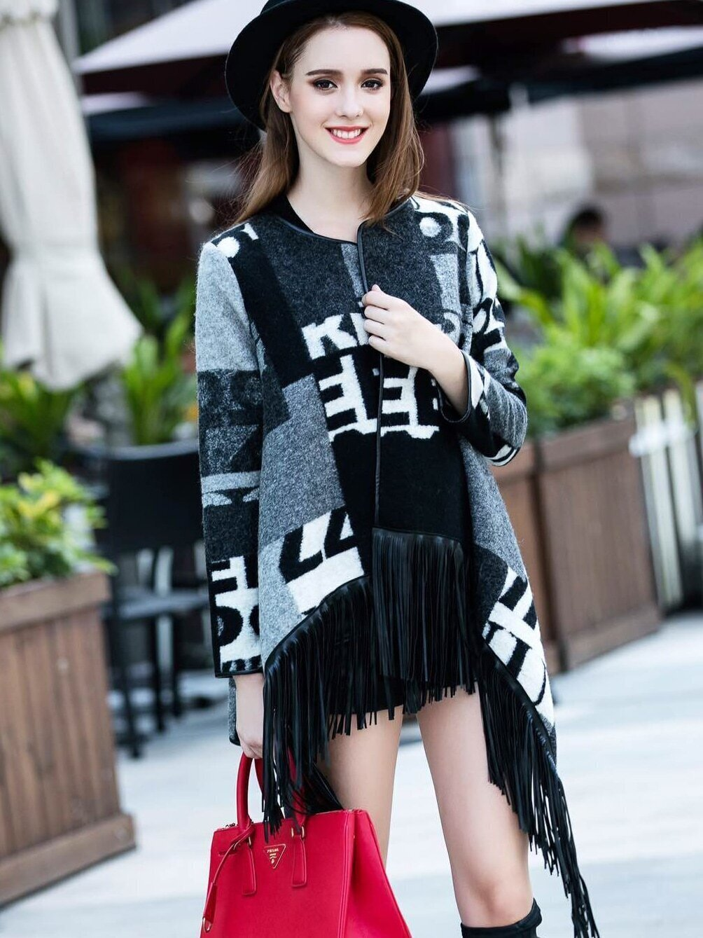 Multicolor Round Neck Long Sleeve Tassel Coat