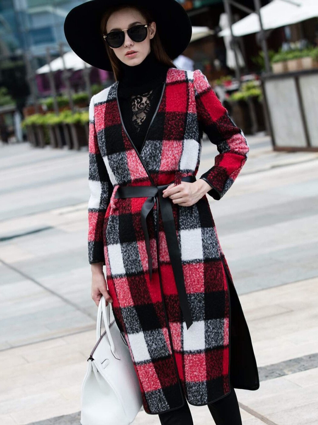 Red V Neck Long Sleeve Tie-Waist Coat