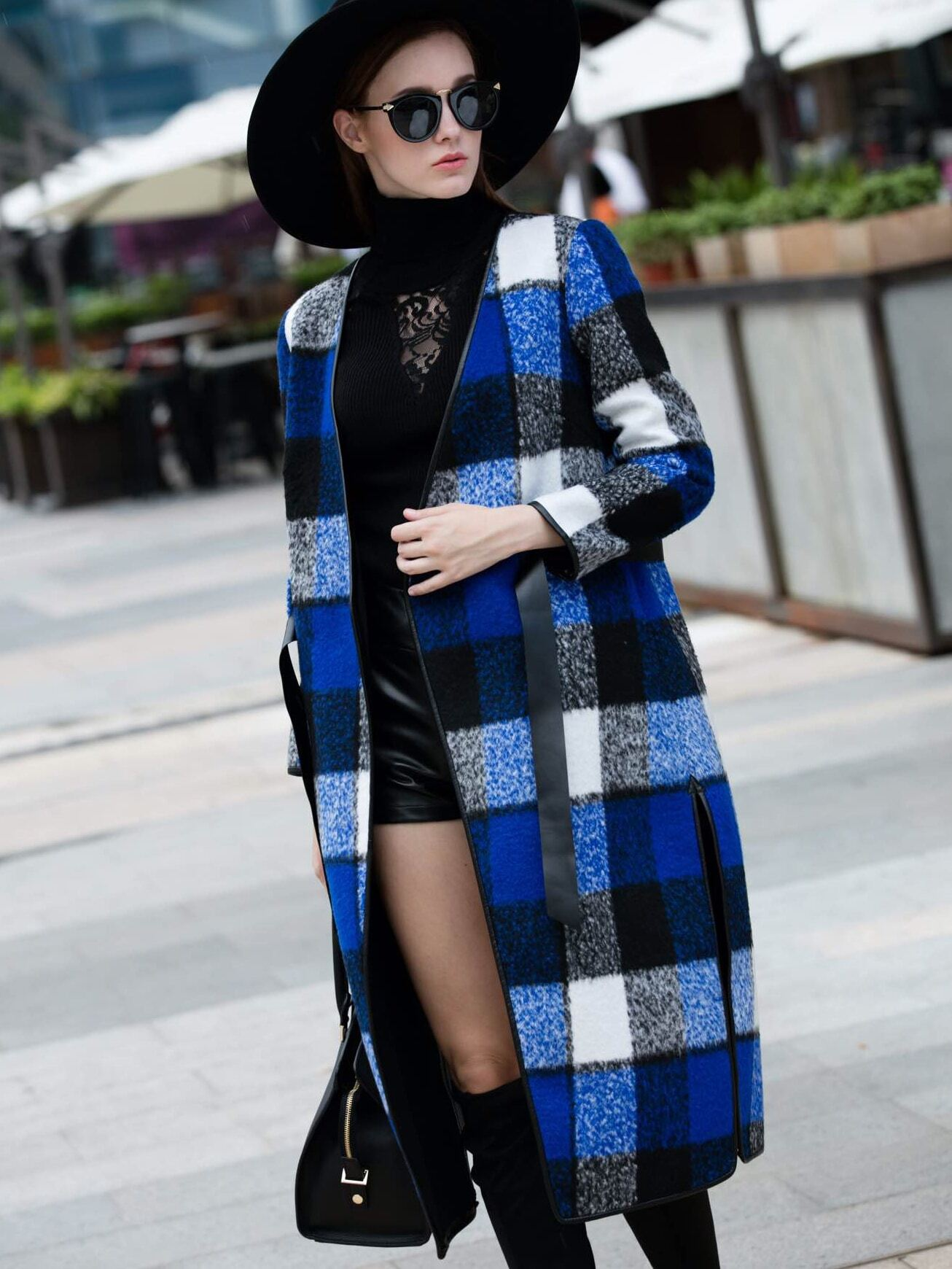 Blue V Neck Long Sleeve Tie-Waist Coat
