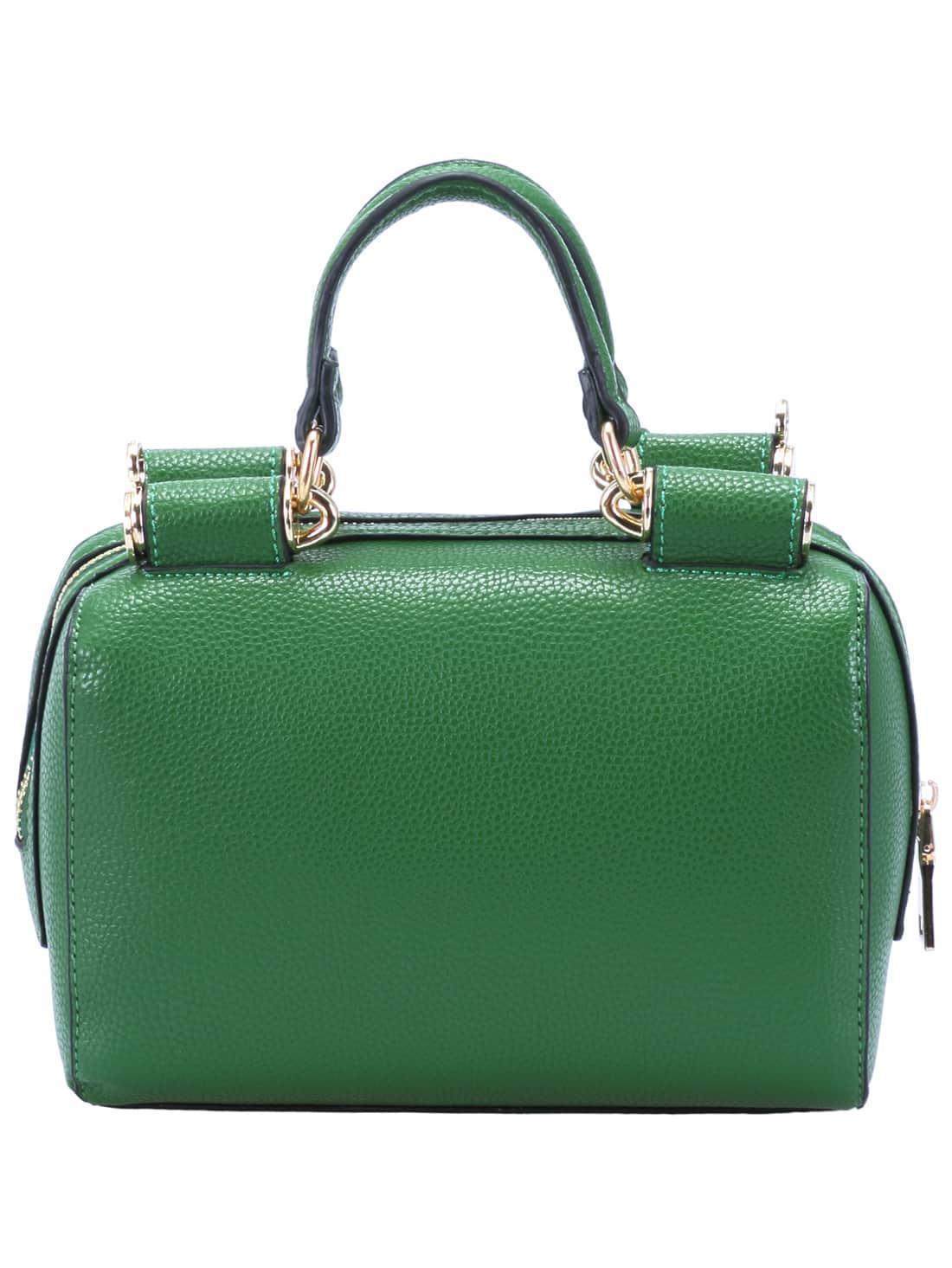 Green Zipper PU Chain Bag