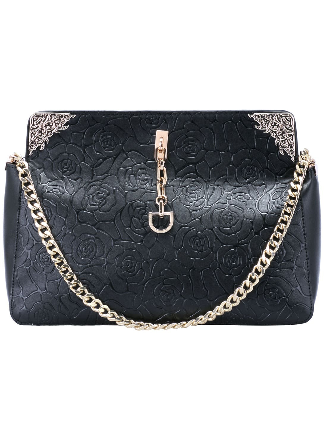 Black Rose Pattern Chain PU Bag