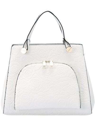 White Zipper Rose Pattern PU Bag