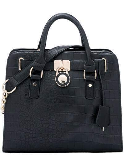 Sac en simili cuir crocodile zip -noir
