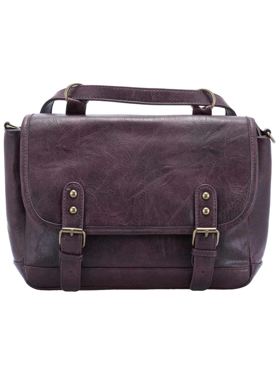 Maroon Zipper Belt Buckle PU Bag