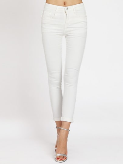 Pantalón denim casual -blanco
