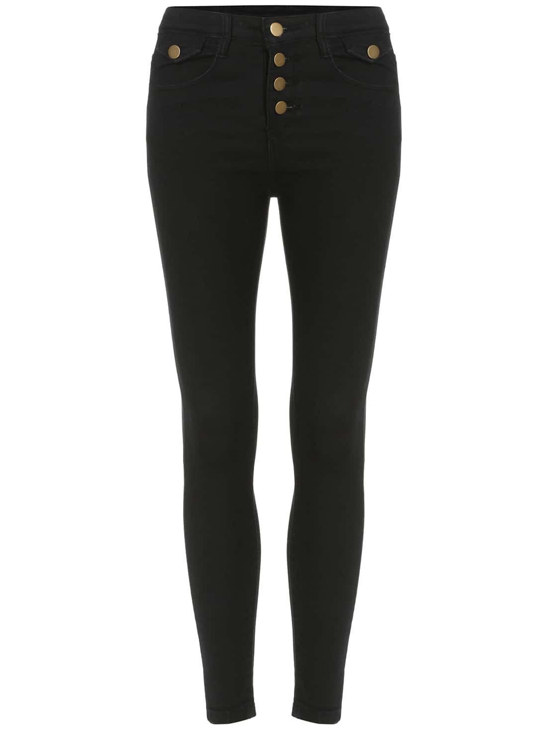 Black Slim Buttons Denim Pant