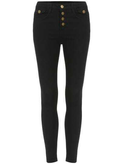 Black Slim Buttons Denim Pant