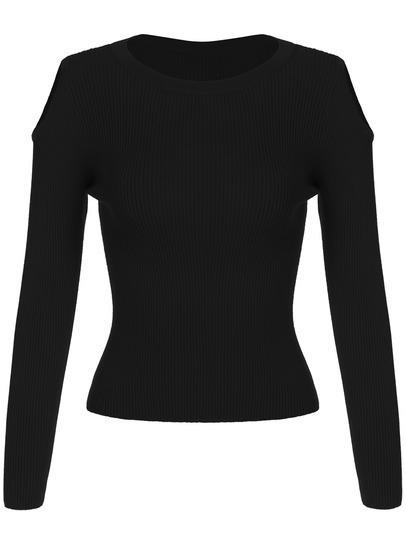 Black Cold Shoulder Crop Knitwear