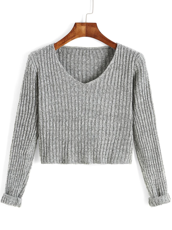 Grey V Neck Long Sleeve Crop Sweater -SheIn(Sheinside)