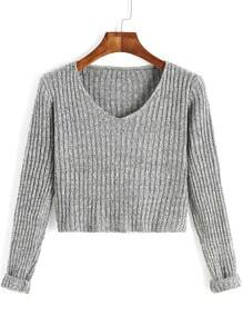 Grey V Neck Long Sleeve Crop Sweater