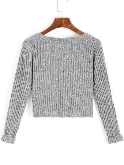 Grey V Neck Long Sleeve Crop Sweater -SheIn(Sheinside)