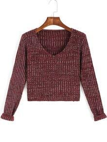Red V Neck Long Sleeve Crop Sweater