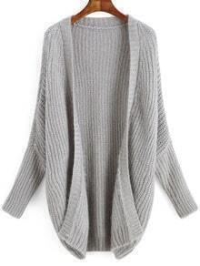 Grey Long Sleeve Loose Cardigan