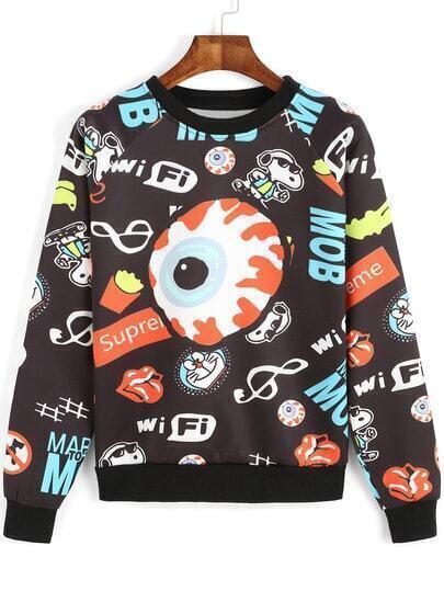 Multicolor Round Neck Cartoon Eye Print Sweatshirt