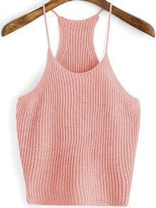 Pink Spaghetti Strap Knit Cami Top