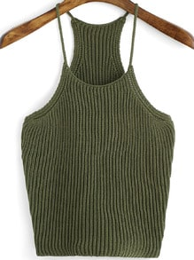 Army Green Spaghetti Strap Knit Cami Top