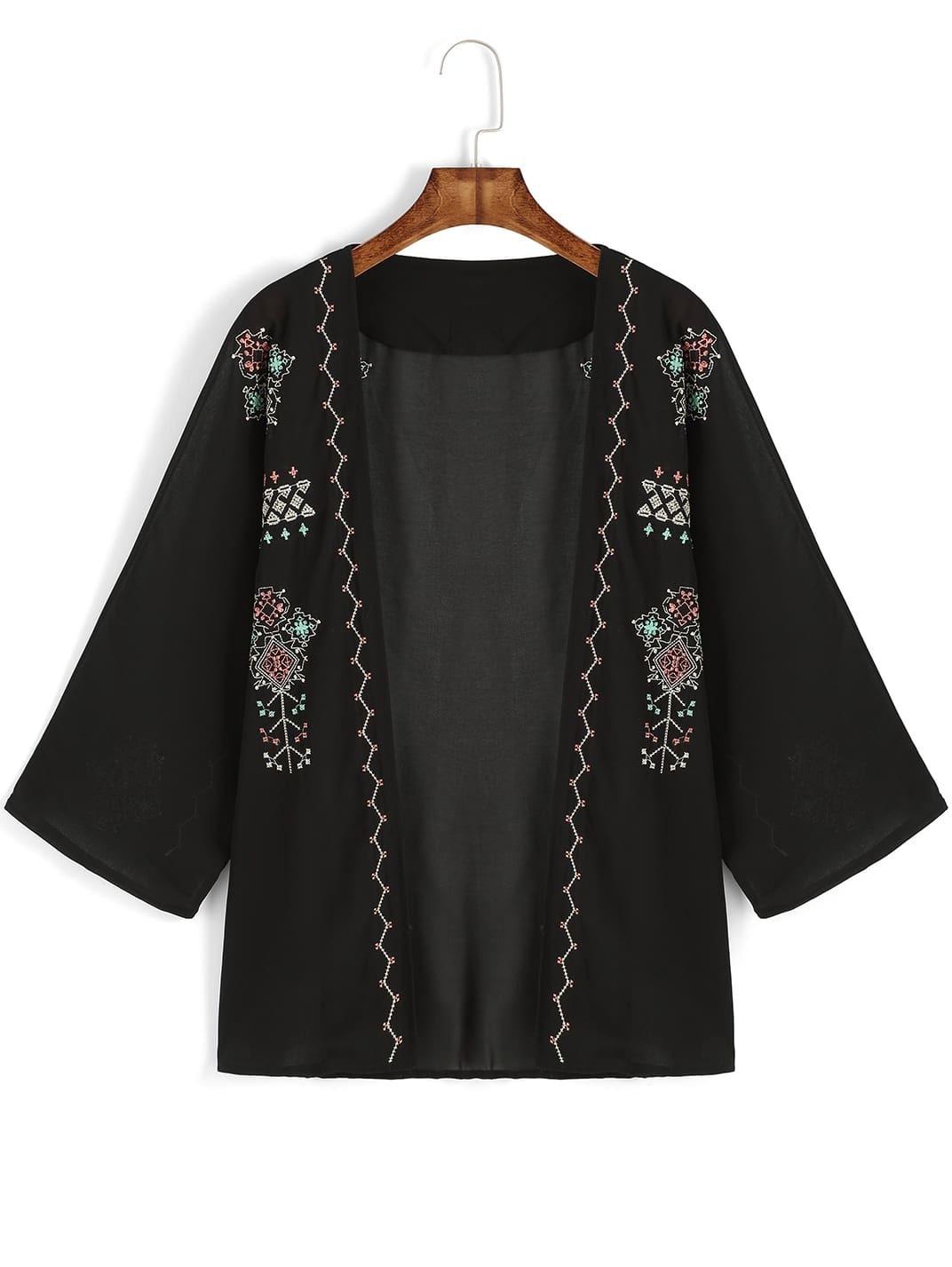 Black Embroidered Loose Chiffon Kimono