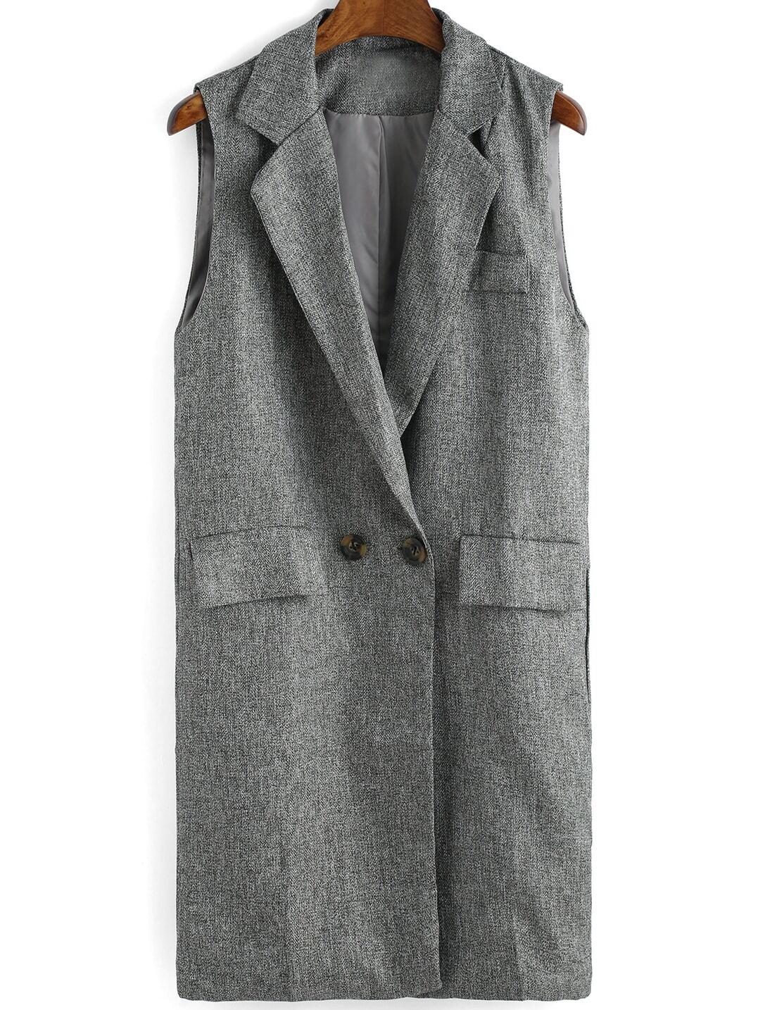 Grey Lapel Sleeveless Double Breasted Blazer