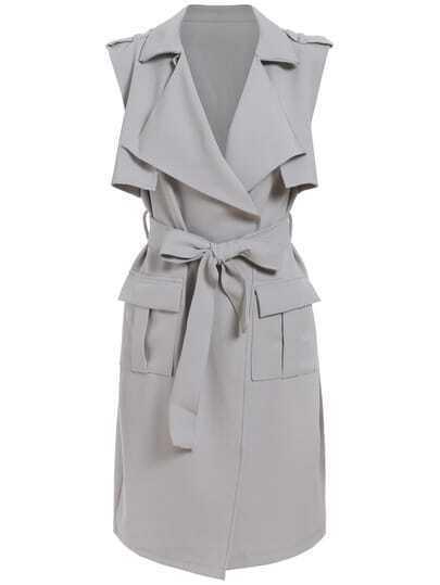 Grey Lapel Sleeveless Tie-Waist Trench Coat