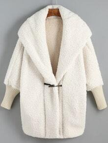 White Hooded Horns Deduction Loose Coat