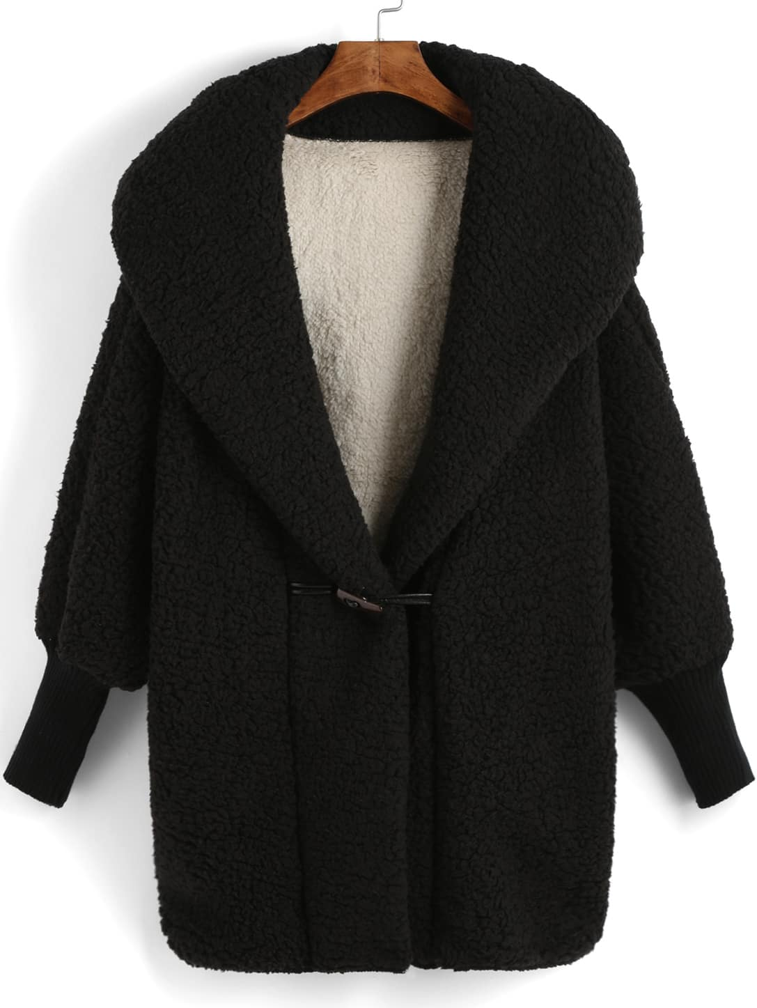 Black Hooded Horns Deduction Loose Coat