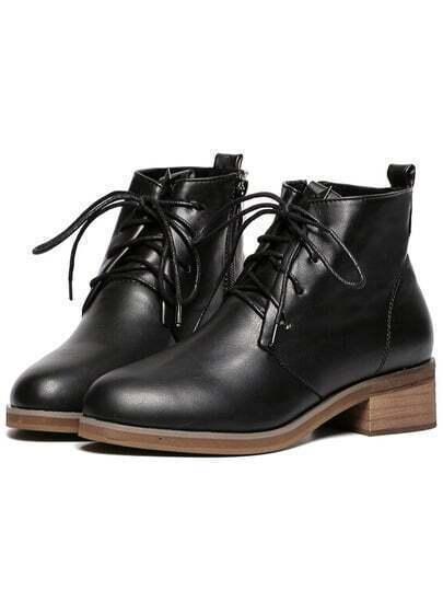 Black Chunky Heel PU Boots
