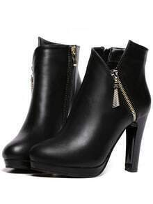 Black High Heel Zipper PU Boots