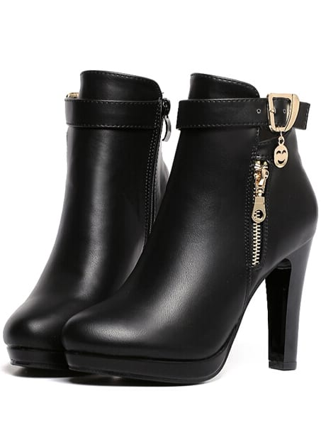 Black High Heel Zipper PU Boots