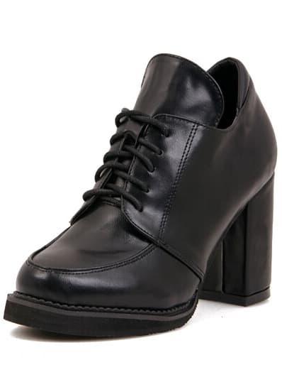 Black Chunky High Heel PU Boots