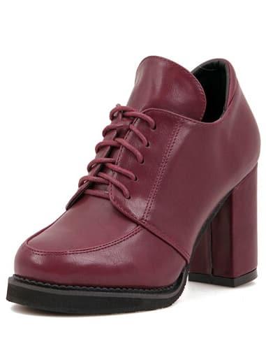 Burgundy Chunky High Heel PU Boots
